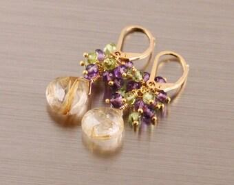 Golden Rutilated Quartz Amethyst Peridot Earrings, Gold Filled Vermeil, Leverback, Purple Gold Green, Febraury August Birthstone, Cluster