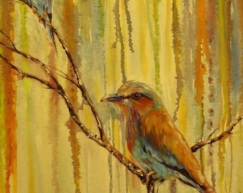 Birds Lilac Breasted Roller Giclee CANVAS PRINT of original oil painting by Sandra Cutrer Fine Art