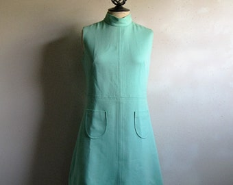 Vintage 1960s Mini Dress Mint 60s GoGo Wool J. Howard Above Knee Day Dress Small