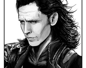 Tom Hiddleston as Loki Poster - Artwork by Kris McClanahan - Black and White Portrait Series