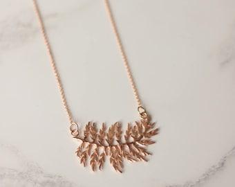 Fern necklace, rose gold leaf necklace, fern necklace, botanical jewellery, nature jewellery