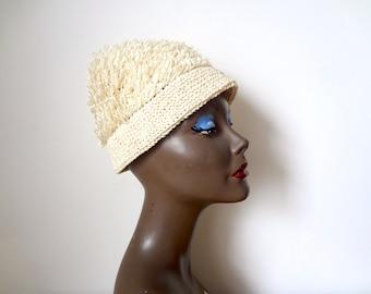 1960s Raffia Straw Hat - vintage fringed fez - mod cream cloche
