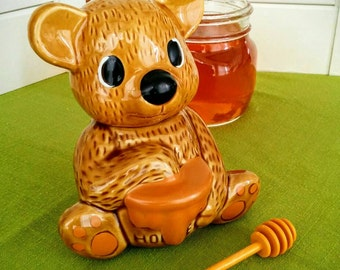 Vintage Honey Bear with Dipper - Honey Pot
