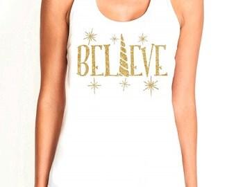 Believe unicorn gold glitter white racerback women's tank