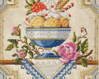NEW UNOPENED Russian Counted Cross Stitch Kit Golden Hands  M-002 Vanilla dessert