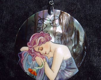 Handpainted mother of pearl Necklace Night by A.Mucha ART NOUVEAU Pendant
