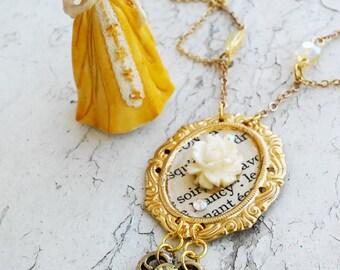 Cameo Sophia Rose Hanging Key Rhinestone Necklace Jewelry