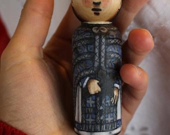 "Byzantine Peg Doll Priest, Blue Vestments - watercolored large size 3.5"""