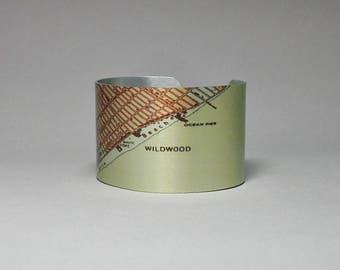 Cuff Bracelet New Jersey Shore Wildwood Map Unique Gift for Men or Women
