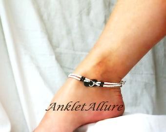 Beach Anklet Black Flip Flop Anklet Beach Body Jewelry Black Ankle Bracelet Body Jewelry