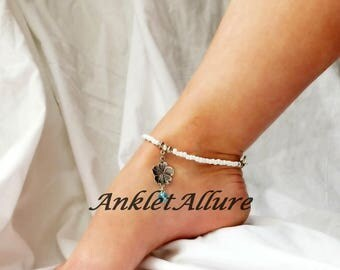 Beach Wedding Body Jewelry White Flower Anklet Beach Anklet Blue Crystal White Ankle Bracelet