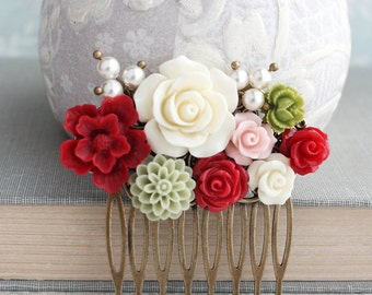 Red Bridal Hair Comb Green Dahlia Ivory Cream Rose Floral Collage Hair Accessories Bridesmaids Gifts Pearls and Flowers Vintage Style