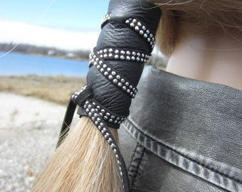 Black Leather Studded Hair Wrap Ponytail Holder Hair Jewelry Edgy Clothing Biker Wear Z1013
