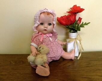 "Vintage Baby Doll - 13"" BND Doll - 1950s Doll - Sleeping Eyes"