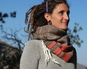 Persimmon Stripe - Handwoven Merino & Alpaca Everyday Luxury Cowl Scarf - Textural Delight