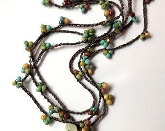 Aqua and brown beaded crochet boho wrap bracelet / necklace, mother's day, boho jewelry, crochet jewelry, spring fashion, coffycrochet