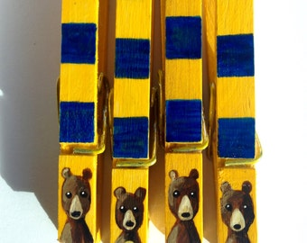 CAL BEAR CLOTHESPINS blue and gold hand painted magnets Cal Berkeley