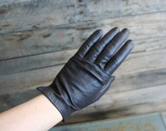 Vintage Brown Leather Lined Driving Gloves