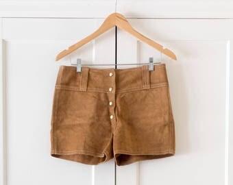 Vintage Boho 1970's Tan Suede Leather Hot Pants / Short Shorts / Hippie Festival Wear / Size 6