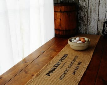 Farmhouse Style Burlap Table Runner - Poultry Feed Design home decor, rustic, fixer upper style, wedding gift, housewarming