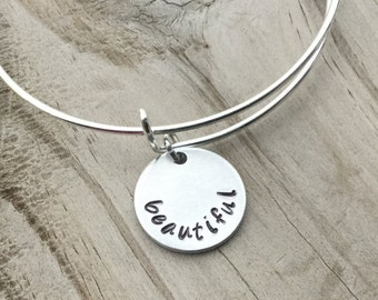 """SALE- Quote Bangle Bracelet- """"beautiful""""- hand-stamped bracelet- only 1 available"""