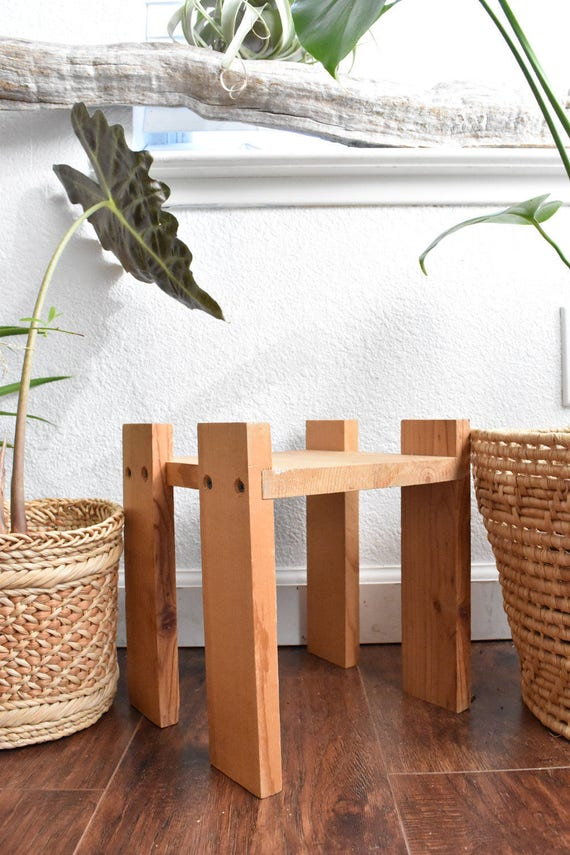 handmade small wood stool / plant stand