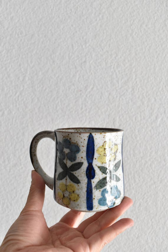 vintage speckled blue floral stoneware coffee mug