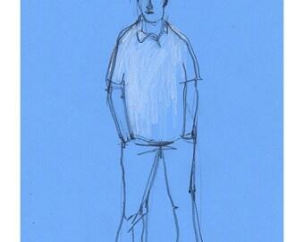 Man drawing original art sketch illustration people figurative realistic blue line life model