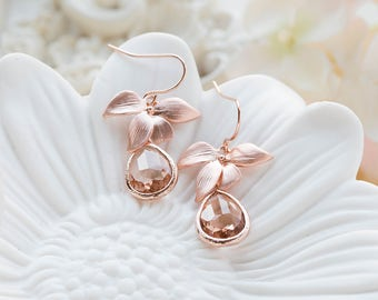 Peach Champagne Crystal Rose Gold Orchid Flower Dangle Earrings, Rose gold wedding jewelry, Peach wedding bridal earrings, bridesmaid gift