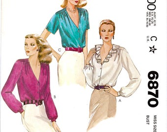 McCall's 6870 Vintage 70s Sewing Pattern for Misses' Blouses - Uncut - Size 12 - Bust 34