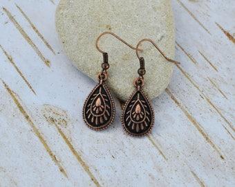 SALE - Vintage Copper Earrings, Carved Teardrop Earrings, Boho Chic Dangle Earrings, Gift For Her