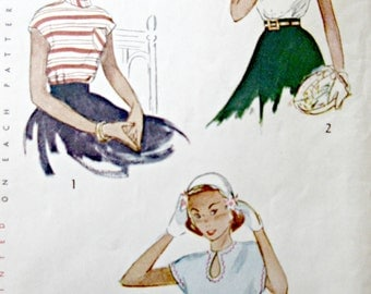 Vintage Simplicity 2748 Sewing Pattern, 1940s Blouse Pattern, Bust 30, Teen Age Blouse, 1940s Sewing Pattern, Short Sleeved Top Pattern