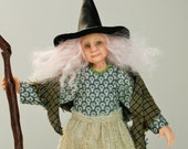 Mabel the Witch, hand sculpted miniature dollhouse doll in 1/12th, one inch scale, ooak by Jendlewick Dolls