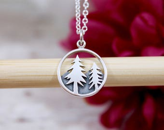 Pine Tree Necklace - Mountain Necklace - The mountains are calling and I must go