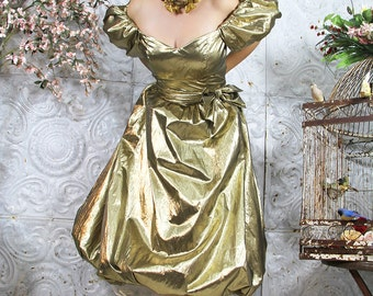 PARTY Dress Vintage Metallic 80s GOLD LAME  Glam Liquid Gown Dress // Vintage Clothing by TatiTati Style on Etsy