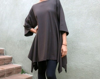 Minimalist Tunic, Oversized Shirt, Asymmetrical Tunic, Kimono Style, Women Long Shirt, Plus Size Shirt, Minimal Style, Glorka, Smoky Black