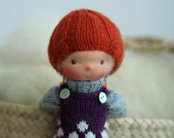 """Waldorf doll, Knitted doll Luna  14"""", rag doll, OOAK, handmade doll by Peperuda dolls, soft doll"""