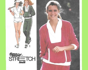 Simplicity 9041 Women's Stretch Knit 70s Jogging Suit Sewing Pattern with Pullover Top, Pants & Shorts. Size 6 to 10, Bust 30 1/2 to 32 1/2