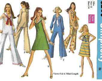 Simplicity 8205 Misses' 60s Dress or  Overblouse and Bell-Bottom Pants Sewing Pattern Size 12 Bust 34