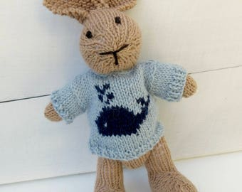Toby the Hand Knitted Bunny Rabbit Toy with Pale Blue Jumper with a Whale on the Front