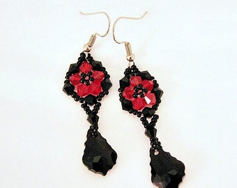 Beaded Red And Black Swarovski Crystal Flower Drop Earrings, Beaded Earring, Chandelier Earring, BOHO Earring, Weaved Earring,