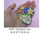 Anatomical heart.Beadwork PATTERN.Pdf pattern.Flower heart.Brick Stitch.Bead Weaving.Jewelry.Pendant.Necklace.Brooch.Flower brooch