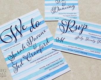 Striped Watercolor Wedding Invitation Set.