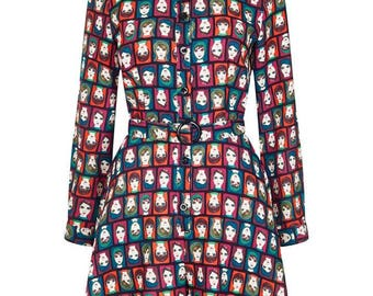 Brand New Funky Retro 60s Inspired Face Print Playsuit