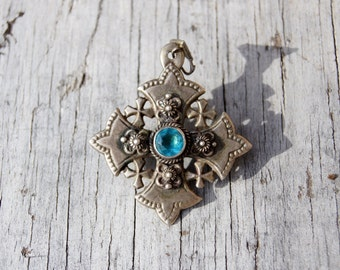 Tribal Silver Jerusalem Cross Pendant Brooch