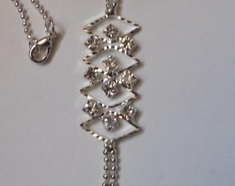 CZs & Hearts Necklace! Fancy Silver Ball Chain Necklace! 10 Cubic Zirconias! 2 Silver Puffed Hearts! Very Sweet! Ships Free! On Sale Now!