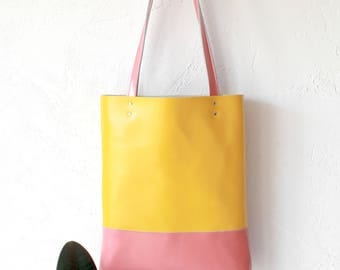 Spring SALE Yellow & Glossy Peach Leather Tote bag