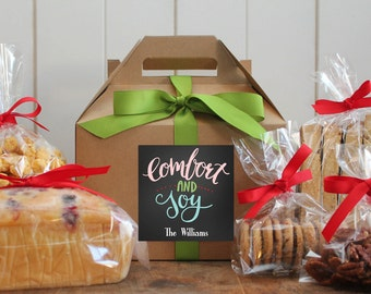 Set of 8 - Holiday Gift Boxes - Comfort and Joy Label | Personalized Gift Boxes | Baked Goods Gift Boxes | Holiday Cookie Boxes