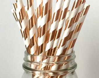 Rose Gold Paper Straws - Rustic Wedding, Neutral Baby Shower, Copper Birthday Party, Bachelorette Party Decor