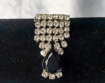 Rhinestone Brooch, Rhinestone and Black Crystal Brooch, Crystal Brooch